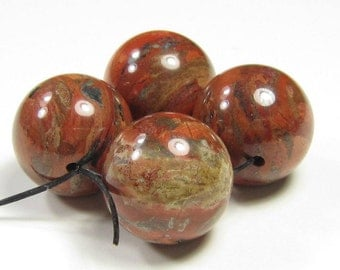 16mm Brecciated Brick Red Jasper Round Bead - 4 beads - #F6074