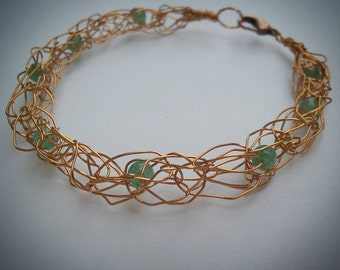 Knitted wire bracelet, aventurine bracelet, knit wire bracelet, copper and green, green aventurine, copper wire knit, bronze color bracelet