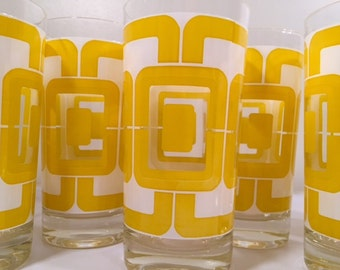 Libbey Retro Yellow and White Links Glasses (Set of 8)