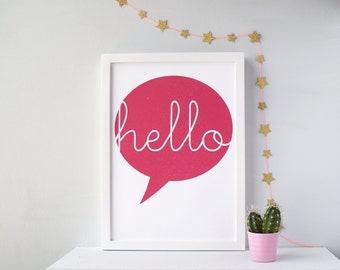 Hello Speech Bubble Print , A4, A3, A2,  typographic Print, wall art print, statement print, bright quote print