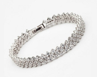 Wedding Bracelet Bridal jewelry bridal bracelet crystal bracelet Cubiz Zirconia bracelet crystal bridal Bracelet