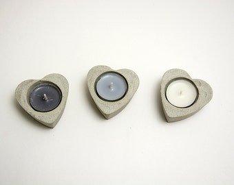 Set of 3 concrete candle-holder - heart -