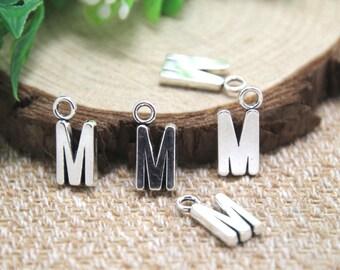 25pcs-- Letter M Alphabet charms silver Letter M Alphabet Charm Pendant 16x8mm D1894