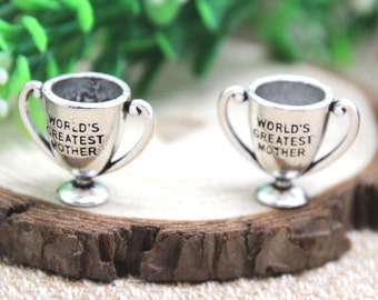 3pcs--World's Greatest Mother Trophy charms Antique Tibetan silver World's Greatest Mother Pendants charms 24x20mm D1651