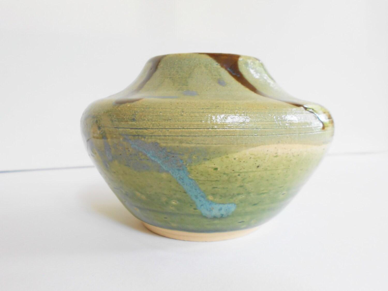 Southwestern shape pottery vase clay pot gray blue green and