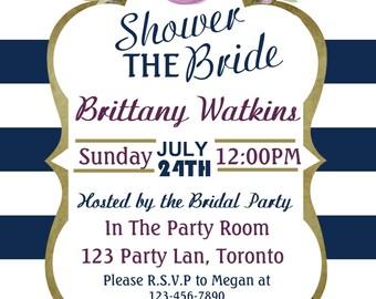 Floral bridal shower, Bridal Invitation, Purple floral bridal shower invitation, Bridal shower