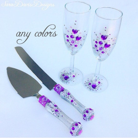 Flute And Cake Server Set Purple Toasting Glasses Purple Cake Server