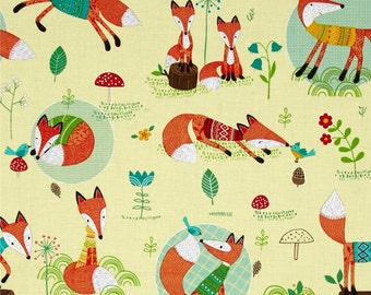 Foxes Woodland Fox Hollow Yellow Lemon Cotton Fabric from Rusty and Friends Fox collection from Mitzi Powers for Benartex
