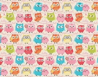 Owl Woodland Tree Party Owls on Cream Cotton Fabric by Kelly Panacci for Riley Blake Fabrics per Fat Quarter per Metre