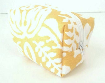 Yellow and white floral toiletry/travel/makeup/cosmetic bag/storage/purse bag/pouch/case