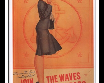 """George Petty Vintage Pinup Illustration Sexy Pinup WWII World War II Ad Navy Mature Wall Art Deco Book Print 9"""" x 11 3/4"""""""