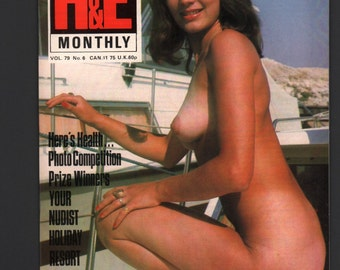 Mature Vintage H&E Health and Efficiency Mens Girlie Pinup Magazine : Vol 79 No 6 1970s EX+/NrMt White Pages High Grade Nudiest Nudism