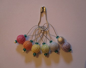 Rainbow Roses, set of six stitch markers