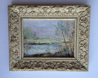 Vintage Water Colour Landscape in Wood Gesso Picture Frame.