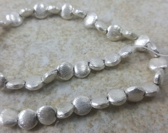 Brushed Coin Sterling Silver Beads -  6x3mm
