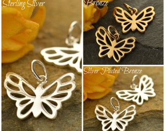 Sterling Silver, Small Butterfly Charm, Small Butterfly, Butterfly Charm, Silver Butterfly, Silver Insect Charm, Insect Charm, Spring Charm