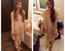 Pakistani Clothes Chiffon Embellished Shirt w/ Cigarette Pants Indian, Pakistani Shalwar Kameez