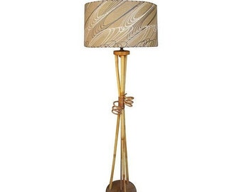 48% OFF Atomic Age Bamboo and Fiberglass Floor Lamp