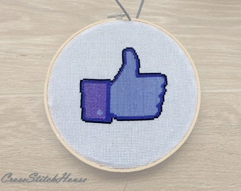 Facebook Like Button Cross Stitch Finished. Social networking Cross Stitch. Modern Funny Hoop Art Wall Decor. FB Like Finished Piece.