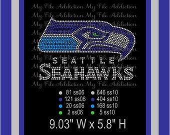 Instant Download SVG EPS Rhinestone Design File Seattle Seahawks Football