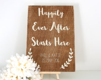 Wedding Signs - Welcome to the Wedding - Happily Ever After Wedding - Wooden Wedding Signs - Wedding Decoration -  Personalised Wedding Sign