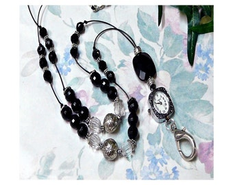 Beaded necklace Watch Lanyard, Work ID badge holder - Black Silver