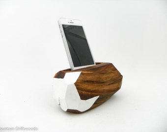 Painted phone dock, Docking station includes USB Cable, iPhone 6+ Dock, iPhone 5, 6 and 6+ Docking Station made from Aged Manzanita Wood