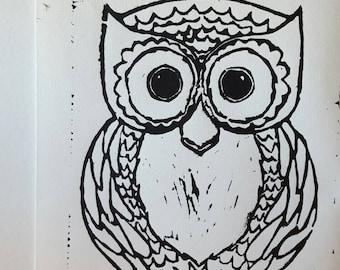 Owl Linoleum Original hand pulled Relief Print