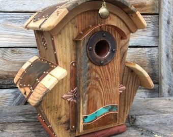 Unique Birdhouse Barnwood Villa Handmade Reclaimed Vintage Birdhouse Wedding Gift #1751