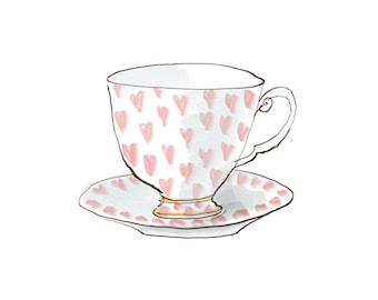 cup of love print, tea cup print, art for tea lover, digital art, kitchen art, cafe art, tea time, JPEG