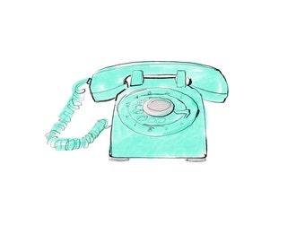 aqua phone, vintage rotary phone digital print