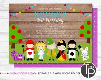 ALICE IN WONDERLAND Invitation, Instant download Alice in Wonderland Invitation, Print yourself Invitation, Edit yourself with Adobe Reader