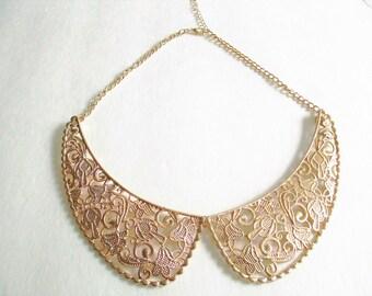 Peter Pan Gold Victorian Bib Collar Necklace, Statement Necklace, Bib Necklace