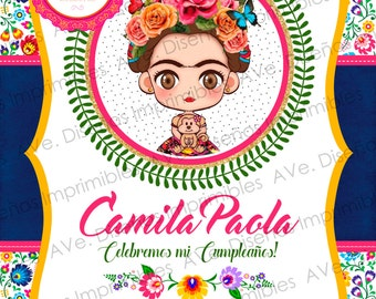 Frida Kahlo Invitations, Frida Kahlo Birthday Invitations, Frida Kahlo Mexican Party, Frida Kahlo Floral and Stripes Invitations