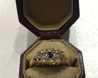 Gold, Diamond and Sapphire Vintage Ring. Sapphire is a September Birthstone! Great gift idea.
