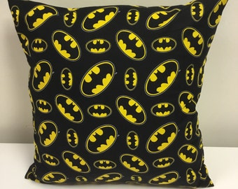Cushion made from 100% cotton Batman pattern fabric Black & Yellow complete with 18x18 inch insert