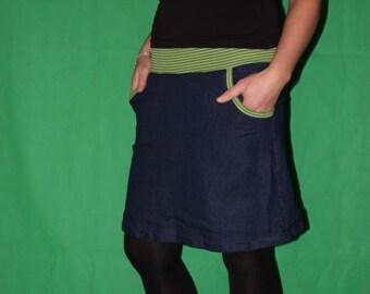 Jean Skirt, stretch skirt, blue skirt, midi size 36 - 44 (UAS 8 - 16)