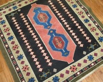 Vintage Turkish Konya Rug Size 4'11''x5'3''