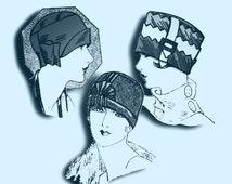 Vintage Twenties Sewing Pattern PDF to make Three Ladies Flapper Cloche Hats A Digital Download