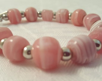 Pale Pink Bracelet - Pink & White Bracelet - Women's Pink Bracelet - Women's Bracelet - Pink - Bracelet - Women's Pale Pink Bracelet - White