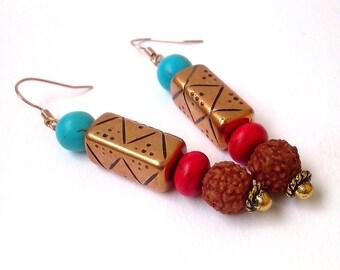 FREE SHIPPING, Handmade Dangle Turquoise Earring, Copper earring,Rudraksha seeds earring