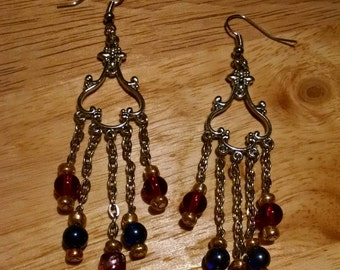 Red, blue, and gold chandelier earrings