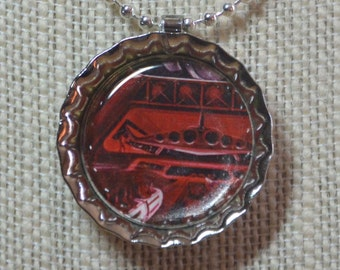 Space Mountain - Illustrated - Bottlecap Pendant Necklace - OOAK