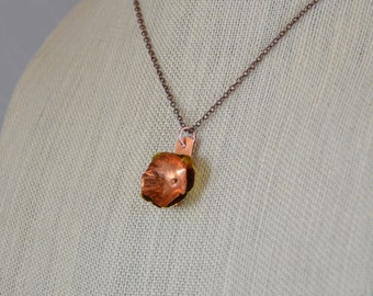 Pendant Necklace - Copper and brass flowers