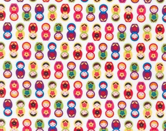 "Robert Kaufman Fabric ""Mini Nesting Dolls"" by Suzy Ultman-One Yard Cut - Bright, Suzys mini collection, nesting doll fabric"