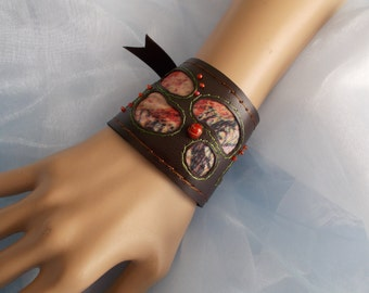 Cuff Bracelet, Fabric Cuff, Arm Cuff Bracelet, Tribal, Boho Cuff Bracelet, Brown, Beaded