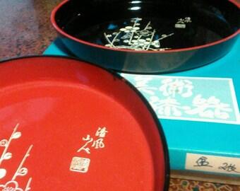 2 Unused Vintage Japanese wood lacquer ware urushi serving trays 24cm 21cm