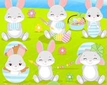 80% OFF SALE Easter bunny clipart, Easter clipart, Easter clip art, cute Easter clipart - CA332