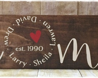HOME where the heart is...with each family member name and established date, stained and hand-painted board, personalized,