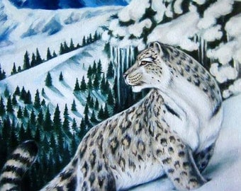 Snow Leopard, Oil Painting, Canvas, Original Painting, Nature, 1/1.